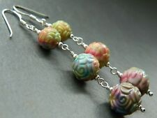Vintage 50s Multi-Coloured Lucite Moulded Flower Beads, Sterling Silver Earrings