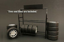 American Diorama metal tire rack 1:18 scale+2010 Shelby GT 500 Wheel set {check}