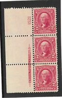#301 ( WASHINGTON  )  PLATED STRIP 3   ,MINT / NH-OG / F-VF