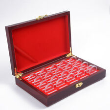1x Wooden Coins Display Storage Box Case For Collectible Coin W/ 50 Capsules Set