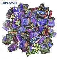 50Pcs/Set Graffiti Decals Neon Sign Stickers Pack Laptop Car Luggage Skateboard