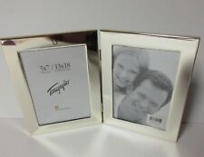 5 x 7 Double Silver Metal easel back picture frame/glass/Vertical As Is