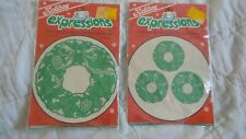 Vintage 1986 2 Dritz Holiday Expressions Iron-On Appliqués WREATHS 2 SIZES