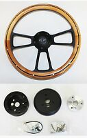 "Alder Wood on Black Steering Wheel Ididit Flaming River Column 14"" Bowtie Cap"