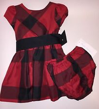 NWT Ralph Lauren Baby Girls's Plaid Fit & Flare Dress w/Bloomer Red 9 Months 9M