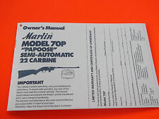"""1989 MARLIN MODEL 70P """"PAPOOSE"""" SEMI AUTO 22  OWNER'S MANUAL"""