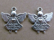 10pc Tibetan Silver Charms 2-Sided Angel Love Heart Accessories Findings PJ033