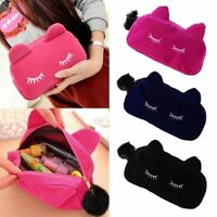 Velvet Flannel Cat Cosmetic Make up Bags Cute Cartoon Storage Pencil Pouch Case