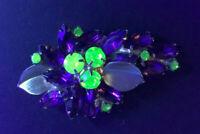 """Vintage Weiss Rhinestone Uranium Purple Green Goldtone Leaves Brooch Pin..2 3/4"""""""