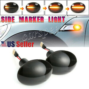 For Mini Cooper R55 R56 R57 R58 R59 LED Side Marker Light Flowing Turn Signal 2X