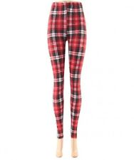 Red and Multi Check Print Leggings S/M
