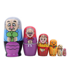 Hand Painted 6 Layers Russian Nesting Dolls Craft Kids Wooden Wishing Doll Y3