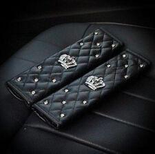 2Pcs Fashion Black Diamond leather Car Auto Seat Belt Cover Shoulder Pad
