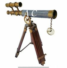 Brass Telescope Wooden Tripod Stand Nautical Marine Antique Vintage Decor Spygla