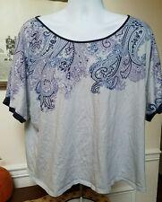 Lane Bryant Blue Paisley Keyhole Stretch Knit Top Shirt sz 18 / 20