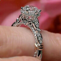 2.50Ct Round Cut White Diamond Unique Engagement Ring Real 14k White Gold Over