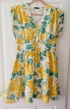 Ladies Women's Girls M&Co Yellow Floral Summer Lined Formal Shirt Dress Size 14