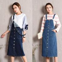 New Womens Denim Overall Dress Suspender Skirt Casual Fit Slim Knee-length L-5XL