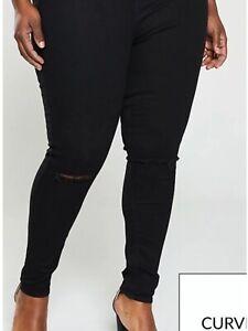 V By Very Women's Slash Knee Jeggings In Black UK 16
