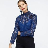J Crew Womens Blue Floral Sheer Lace Mock Neck Bow Blouse Top Size 0