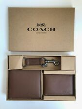 Coach * Men's Wallet F64118 CWH Dark Saddle Compact ID & Key Fob Box Set