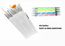 15pcs Nail Brushes & 5pcs 2-Way Nail Dotting Pens Marble Nail Art Tool Kit Deco