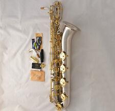 Professional Taishan Silver Nickel Baritone sax Eb ABALONE KEY Saxophone NewCase