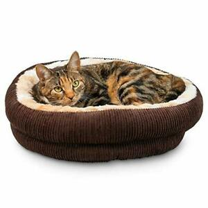 Pet Craft Supply Round Cat Bed - Cute and Comfortable Self Warming Plush Calm...
