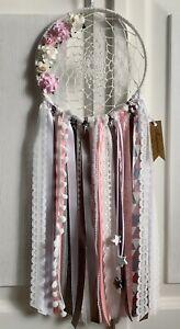 Large Pink And Grey Dream Catcher Ribbon Lace Fabric Chic Dreamcatcher Star 🐭