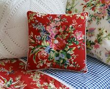 NEW Custom Ralph Lauren Belle Harbor Red Floral Throw Pillow 1 Button Wht Twill