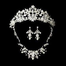 Silver Swarovski Crystal Freshwater Pearl Bridal Tiara Necklace Earring Set