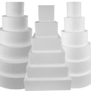 Round Cake Dummy | Square Dummie Cake  - Solid Foam Disc and Cubes - Not Hollow