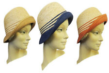 Retro Vintage 1920's 30s style Raffia Cloche Charleston Hat in 5 colour combo's