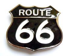 Men's Route 66 Belt Buckle Black Retro Highway American Biker Fits Snap Belt