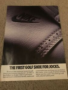 Vintage 1988 NIKE GOLF SHOES Poster Print Ad *1ST EVER* RARE