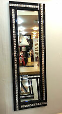 Full Length Art Deco Acrylic Crystal Glass Design Bevelled Mirror 120x40cm Black