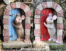 More details for set of 2 (red + blue) resin mouse doorway fairy garden door ornament decorations