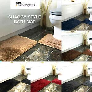 Large 2 Piece Bath Pedestal Mat Soft Thick Shaggy Rug Washable Non Slip Mat Set