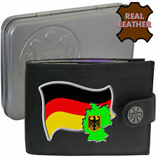 GERMAN Mens Leather Wallet GERMANY Flag map Emblem Mans gift Deutschland Tin