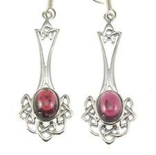 Long Celtic Knot Silver Earrings, set w Garnet stone, Solid Sterling Silver
