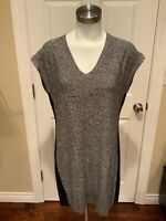 Athleta Black & White Speckled Sleeveless Knit Dress, Size Small