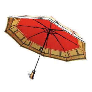 Tartan Plaid Nova Check Compact Automatic Umbrella Fashion Rain Umbrella