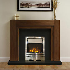 """ELECTRIC WALNUT WOOD SURROUND BLACK SILVER LED MODERN FIRE FIREPLACE SUITE 48"""""""