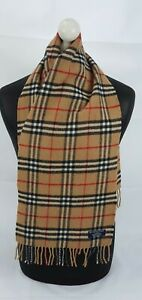 BURBERRY SCARF 100% LAMBSWOOL SHORT MADE IN ENGLAND BEIGE AS8FR
