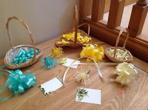 3 Gift Baskets. Yellow, Aqua & Lemon. Baskets, Ribbon Bows, Curls & Pics & Cards