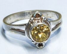 Sterling Silver Ethnic Asian Vintage Style Golden Topaz Stone Ring Size N Gift