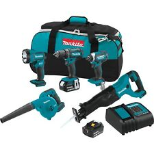 Makita 18V LXT Brushless Cordless Drill 5 Piece Combo Power Tool Kit w/ Battery