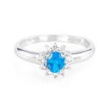 neonblauer Apatit Ring  Gr. 17 / 54   925er Silber 3fach platiniert