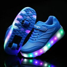 LED Charging Sneakers With TWO Wheel Boy Girl Roller Skate Shoe