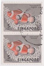 (K65-190) 1962 Singapore 5c orange clown fish pair (F)